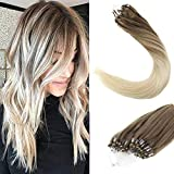 [Grosses Soldes] LaaVoo Micro Loop Extensions de Cheveux Humains #8/59 Marron Clair Balayage Ombre Blond Micro Ring Remy Hair Extensions (50Grammes, 1g/s, 14 Pouces)