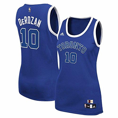 adidas DeMar DeRozan Toronto Raptors NBA Blue Official Hardwood Classics Throwback Replica Jersey for Women (2XL)