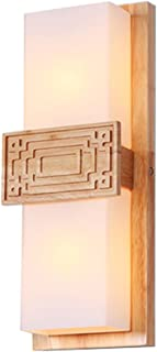 MX Light Fixture Chinese Solid Wood Bedroom Bedside Lamp Living Room TV Wall Cuboid LED Wood Wall Lamp
