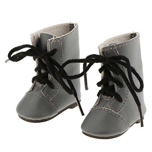 Perfeclan Fashion Lace Up PU Pop Laarzen Enkellaarsjes Schoenen voor 14 poppenkleertjes Accessoires - Grijs, Enige lengte: 5,2 cm