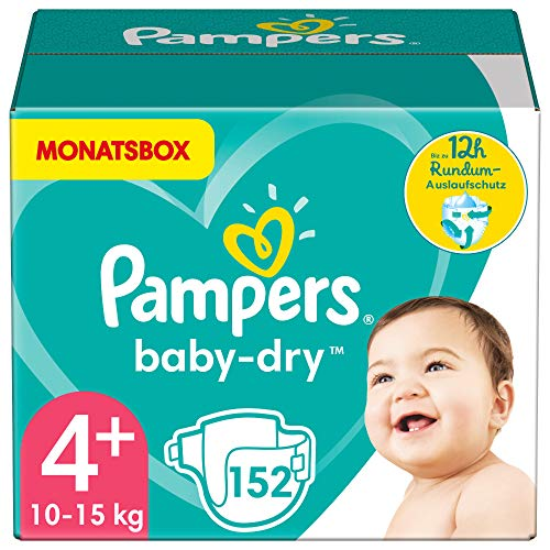 Pampers Größe 4+ Baby Dry Windeln, 152 Stück, MONATSBOX, Für Atmungsaktive Trockenheit (10-15kg)