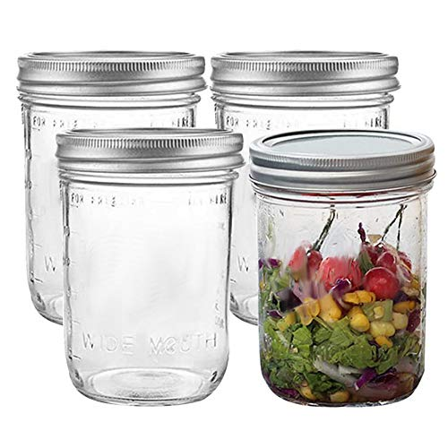 FEOOWV Set of 4 Mason Jars with Lids, 16 oz Wide Mouth Canning Glass Storage Jars for Food, Coffee, Jams and more
