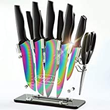 DISHWASHER SAFE Rainbow Titanium Knife Set with Block,14 PCS Kitchen Knife Set with Acrylic Stand,Kitchen Scissor,Santoku knife,6 Rainbow Steak Knives Cutlery Knives Set for Home Pro Use,Marco Almond