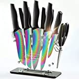 DISHWASHER SAFE Rainbow Titanium Knife Set with Block,14 PCS Kitchen Knife Set with Acrylic...