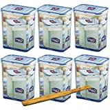 Lock&Lock Frischhalteboxen Set 6-teilig HPL813 (6 Stück) Volumen 1,8L und SeleXions Multifunktion Olivenholz-Spachtel