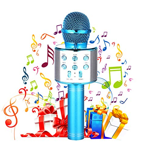 Wireless Bluetooth Karaoke Microphone for Kids, Portable Handheld Mic Speaker Music Player Recorder Karaoke Machine Toys for 4-12 Year Old Girls Boys Best Gift for Birthday Party Christmas
