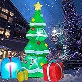 HARLT Inflable Árbol De Navidad De Poliéster, Árbol De Navidad con Hinchables Multicolor Cajas De Regalo con Luz Eléctrica Autoinflable, Cubierta Al Aire Libre Jardín
