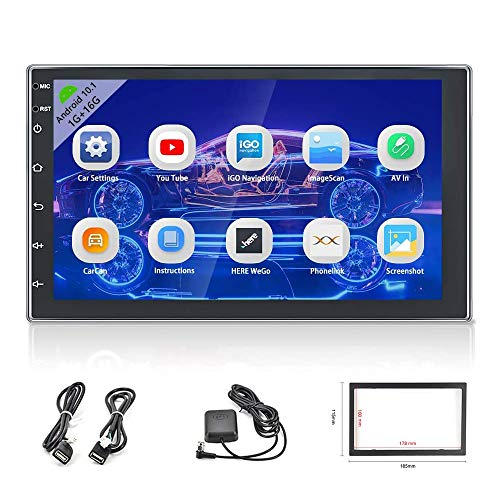 """Android Double Din Car Stereo GPS 7"""" Touch Screen Navigation Head Unit Built-in WiFi Bluetooth Support DVR/Backup Camera Input & Mirror Link for iOS/Android Phones"""