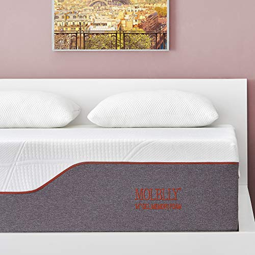 Queen Mattress, Molblly 14 inch Ventilated Gel Memory Foam Mattress Bed Mattress in a Box - CertiPUR-US Certified Foam