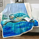 Sviuse Turtle Blanket Throw Sea 3D Turtles Kids Sherpa Blanket Soft Plush Fleece Abstract Tortoise Blue Sea Animals Blanket Gifts for Turtle Lovers Couch Bed Chair Office Sofa (50' x 60', Turtle 1)