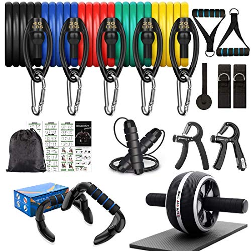 Resistance Bands Set Workout Bands,8-in-1 Ab Wheel Roller Kit with Knee Pad,Push Up Bars,Hand Grip Strengthener,Jump Rope,Home Gym Workout Exercise Equipment for Men Women