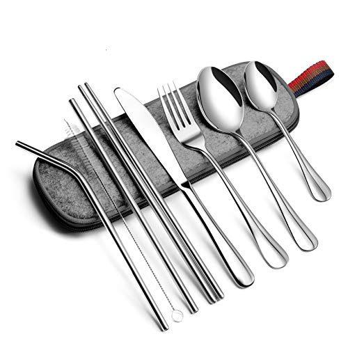 EvaCrocK Travel Utensils | Stainless Steel Flatware set, Portable Utensils, 9-Piece including Knife Fork Spoons Straws Chopsticks Cleaning Brush, Travel Silverware set with Case [9 Piece Silver]