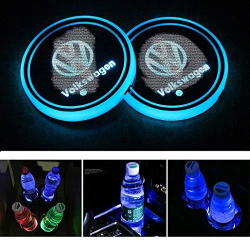 NAWXC Luce Decorativa, Sottobicchiere con Logo per Auto, Tappetino di Ricarica USB, 7 Colori Che Cambiano Tappetino di Ricarica USB Pad Luminescente Misura V-W