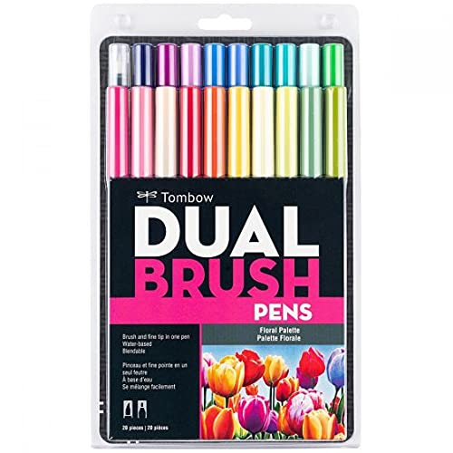 Tombow 56192 Dual Brush Pen Art Markers, Floral Palette, 20-Pack. Blendable, Brush and Fine Tip Markers
