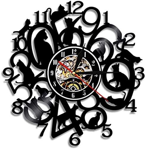 Reloj de Pared de Gatito Divertido Reloj de Gatos Gatito Negro decoración de guardería de Animales Reloj de Arte con Registro de Vinilo Mujeres Amantes de los Animales Ideas de Regalo
