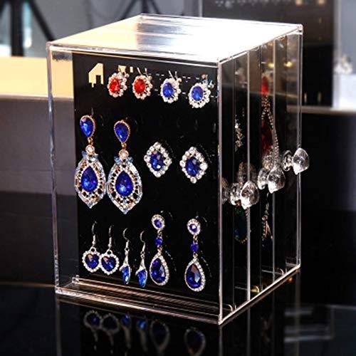 XKMY Caja de almacenamiento organizador de joyas, caja de almacenamiento transparente para pendientes, expositor de collares, joyas, caja de plástico con cajón vertical (color: negro)