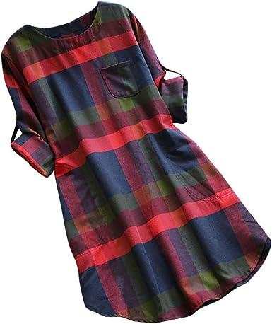 Vestidos para Mujer,Verano Vestidos Casual Cuadros Blusa Camiseta Tops Elegante Vestidos de Mujer Cortos vpass Manga Larga con Bolsillo