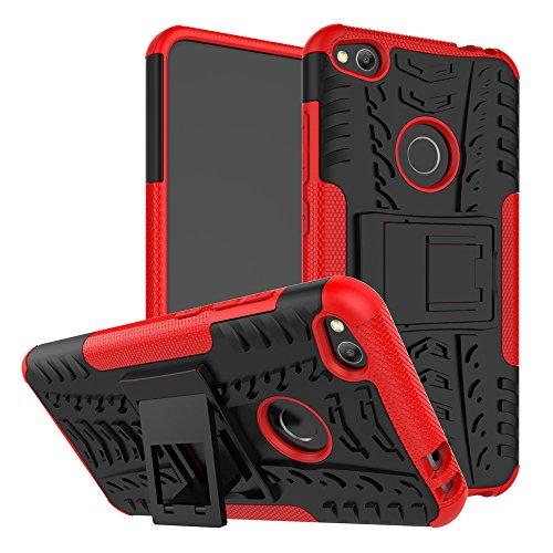 MAMA MOUTH Huawei P8 Lite 2017 Funda, Heavy Duty Silicona híbrida con Soporte Cáscara de Cubierta Protectora de Doble Capa Funda Caso para Huawei P8 Lite 2017 Smartphone,Rojo