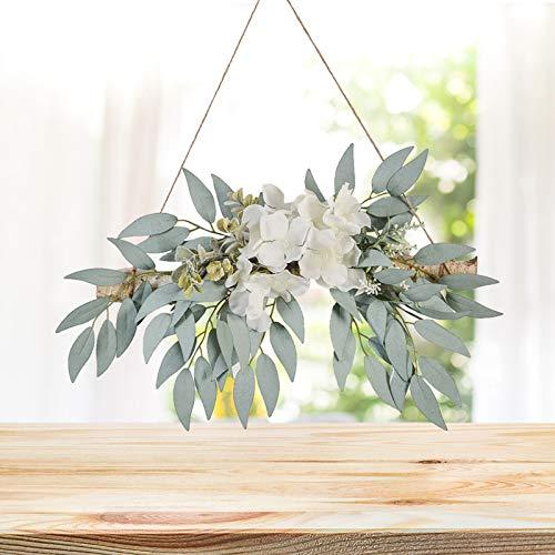 ZHIPANG Hojas de eucalipto artificiales de 13.8 pulgadas con hortensias de sauce, plantas de simulación para colgar en la pared de la puerta delantera, decoración del hogar