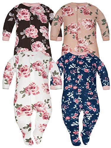 Sibinulo Jungen Mädchen Baby Schlafstrampler mit rutschfest, Kleinkind 9-12 Monate Babykleidung Set 4er Pack Vier Farben Rosen 80
