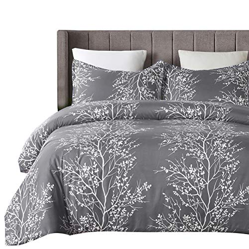 YEPINS Soft Microfiber Duvet Cover Set with Zipper Closure, Print Floral and Branch Pattern Design, Grey Color- Double Size