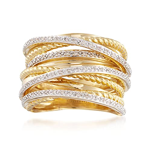 Ross-Simons 0.25 ct. t.w. Diamond Highway Ring in 18kt Yellow Gold Over Sterling Silver. Size 8