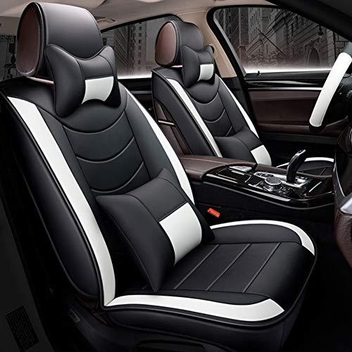 WYW Leder Sitzbezüge-Set, Universal Gitter Autositzbezüge Set Voll Auto Vorderseite und Rückseite, 9-Teiliges Set,Black White