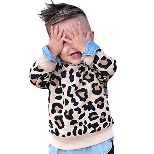 Baby Girl Sweater,Toddler Kids Baby Boy Girl Leopard Print Sweatshirt Long Sleeve T-Shirt Clothes Yellow