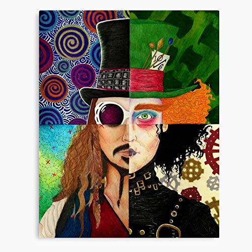 Mad Colorful The Jack Hatter Edward Charlie and Wonka Tim Johnny Scissorhands Sparrow Willy Depp Burton Chocolate Factory Canvas Wall Art for Living Room Bedroom Kitchen Dinning Room Office Home Deco