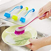 Pot Cleaning Brush Vertical Multifunction Kitchen Suction Cup Type Sink Cleaning Scrub Brush Long Handle