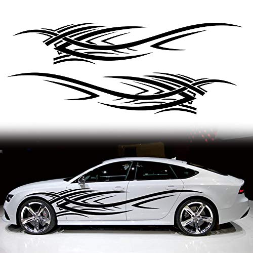 Leasinder 2Pcs 94.4'' Universal Flame Graphics Car Auto Body Side Sticker Flame Racing Sports...