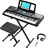 RIF6 Electric 61 Key Piano Keyboard - with Over Ear Headphones, Music Stand, Digital LCD Display, Teaching Modes and Adjustable Stool - Electronic Musical Instruments Starter Set for Kids and Adults