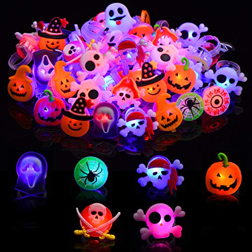 Gejoy 75 Pieces Halloween LED Rings Plastic Party Light Rings Glow Rings for Halloween Party Event Supplies