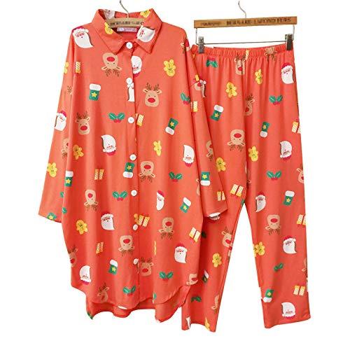 Weihnachten Baumwolle Weiche Und Bequeme Strickjacke Lange Pyjamas Frauen Frühling Und Herbst Langarm Anzug Plus Größe Home Service Anzug,Orange