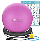 Timberbrother Exercise Ball Chair with Workout Poster Yoga Ball Chair with Resistance Bands & Pump (Violet with Ring & Bands)