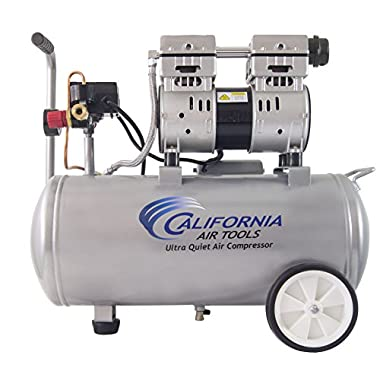 California Air Tools 8010 Ultra Quiet & Oil-Free 1.0 hp Steel Tank Air Compressor, 8 gal, Silver