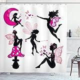 Feen-Duschvorhang, Mädchen-Silhouetten, sitzend auf Mond, Pilz, geflügelt, fantastisches verträumtes Cartoon, Stoff, Badezimmer-Dekor-Set mit Haken, 183 x 183 cm, Hot Pink