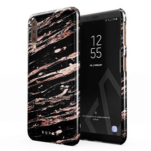BURGA Hülle Kompatibel mit Samsung Galaxy A7 2018 - Handy Huelle Schwarz Rose Gold Marmor Muster Black Marble Mädchen Dünn Robuste Rückschale aus Kunststoff Handyhülle Schutz Case Cover