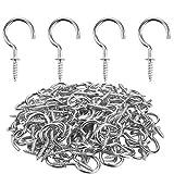 Powlankou 1inch Nickel Plated Metal Screw-in Ceiling Hooks Cup Hooks Silver, 120 Pieces