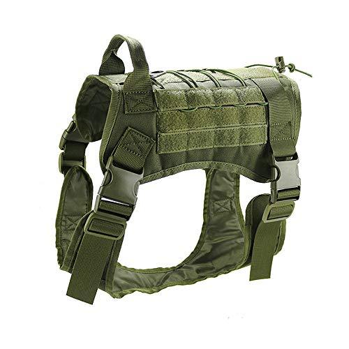Petvins Tactical Dog Molle Vest Harness K9 Service Vest Adjustable Outdoor Training Costume Camouflage Harnesss Green Size XL