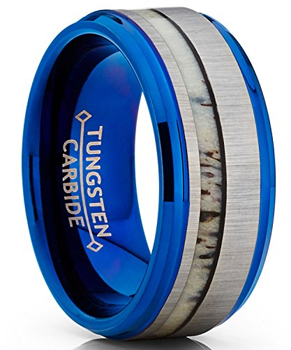 Men's Tungsten Carbide Blue Wedding Band Ring Real Antler Inlay Comfort Fit 9mm 8.5