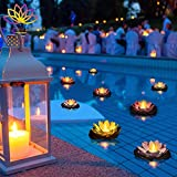 MAKUMARI Lotus Floating Lanterns- Set of 10 Beautiful Large 7 inch Artificial Floating Colorful Lotus with Real Candles for Your Romantic Decorations, Weddings, Memorials or Pool Decor