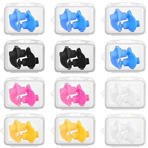 12 Pares de Tapones de Oídos de Natación Tapones de Auditivos de Silicona Impermeables Tapones Auditivos Reutilizables de Gel Suave con Cajas de Plástico para Natar Bañarse Deportes Acuáticos