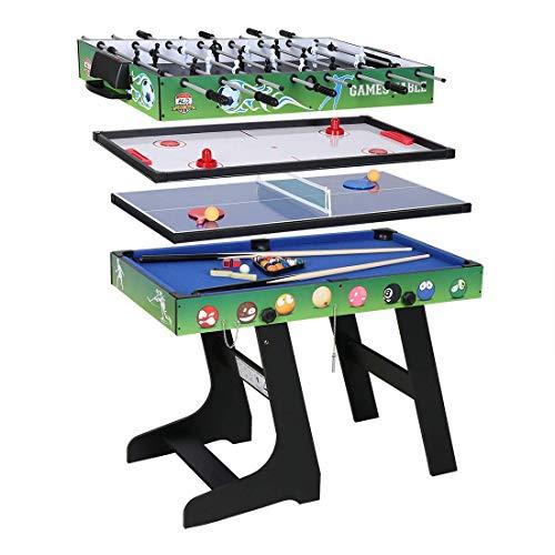 JCF Mesa Multijuegos Plegable 4 en 1 Mesa de Billar, Ping Pong, Hockey y Futbolín (109 x 60,5 x 82 cm) Buen Regalo para Fiestas Juegos Entre Familia Color Verde