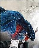 Mural de papel pintado Fotográfico Peces de acuario azul Papel pintado tejido no tejido Decoración de Pared decorativos Murales moderna 150x105 cm(W x H)