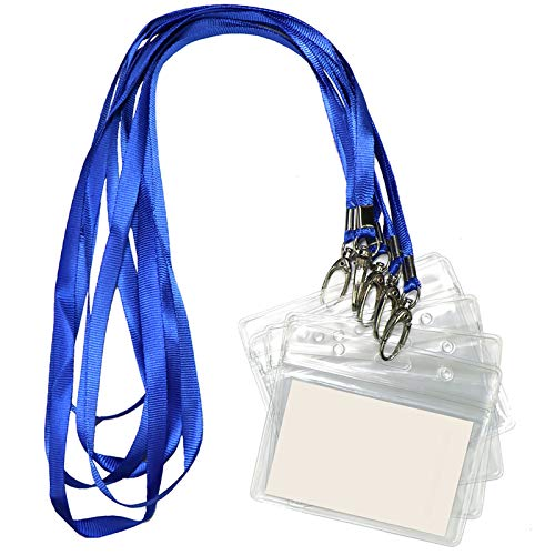 Lanyard with ID Holder 50 Pcs Waterproof Name Tag Horizontal Badge ID Card Holders ID Pass Holder and 50 Pcs Flat Neck Blue Lanyards Swivel Hook