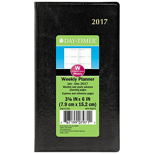 Day-Timer Weekly Planner / Appointment Book 2017, Two Page Per Week, 3-3/8 x 6-1/4, Pocket Size, Black (13551)