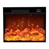 Electric Fireplace 25.9'×7.1'×22.0' Electric Fireplace Heater Dynamic Flame Effect Recessed Electric Fireplace 1500W Black Metal Frame Room Heater with Remote Control Home Electric Fireplace