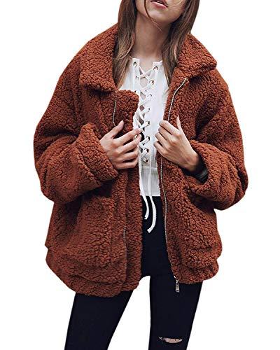 Abravo Mujer Abrigo Otoño Invierno Cardigans Polar Lana de imitación Outwear Jacket Pullover Casual Manga Larga Suelta Cremallera Sólido Jersey Chaqueta de Felpa