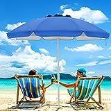 SFJ-CA Beach Umbrella 6.5FT Portable Outdoor Sunshade Umbrella with Sand Anchor and Push Button Tilt, Heavy Duty UV 50+ Sun Protection Umbrella with Carry Bag for Garden Beach Pool Backyard Travel